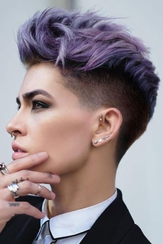 short shaved hairstyles for women with purple top
