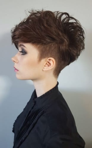 short textured bob with undercut and bangs