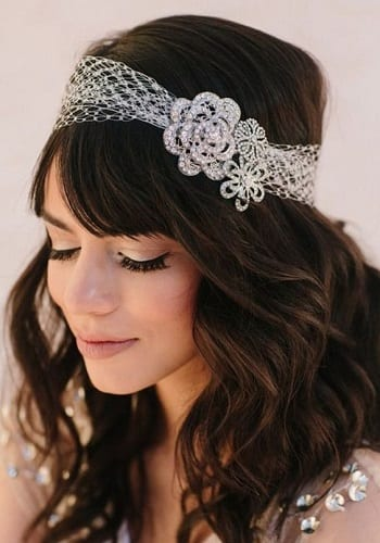 Wavy long hair with netted hairband